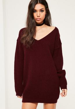 Burgundy V Neck Slouch Sweater Dress
