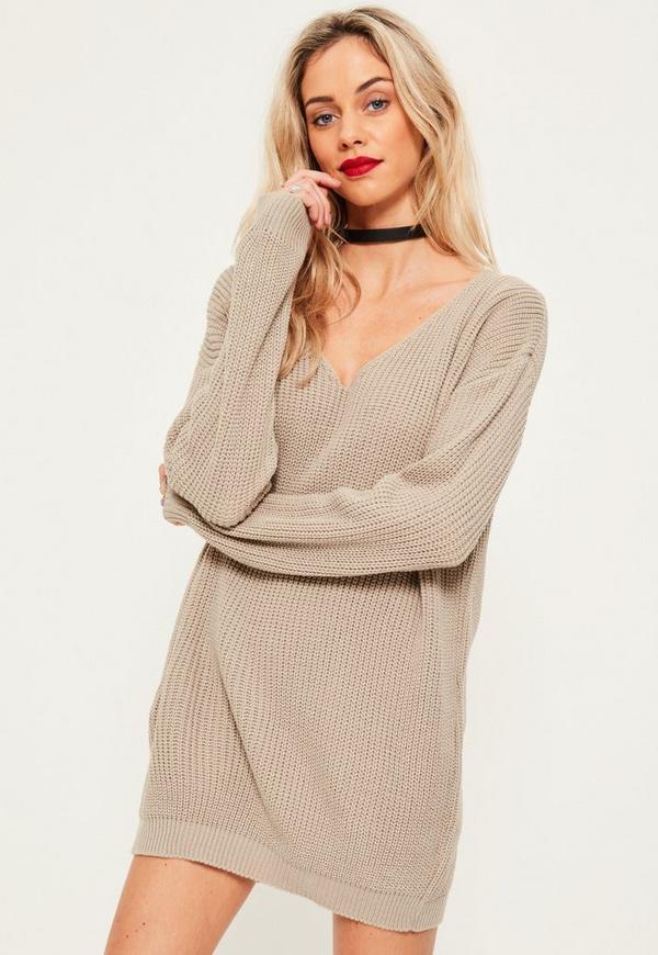 Grey V Neck Slouch Jumper Dress