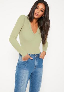 Green Deep Plunge Bodysuit