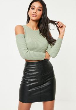 Green Cold Shoulder Crop Top