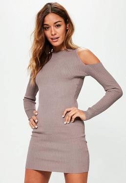 Purple Cold Shoulder Ribbed Mini Jumper Dress