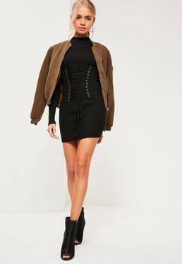 Black Corset Lace Up Knitted Mini Jumper Dress