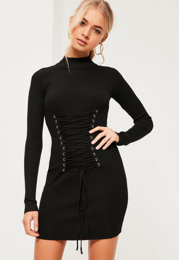 Black Corset Lace Up Knitted Mini Sweater Dress Missguided