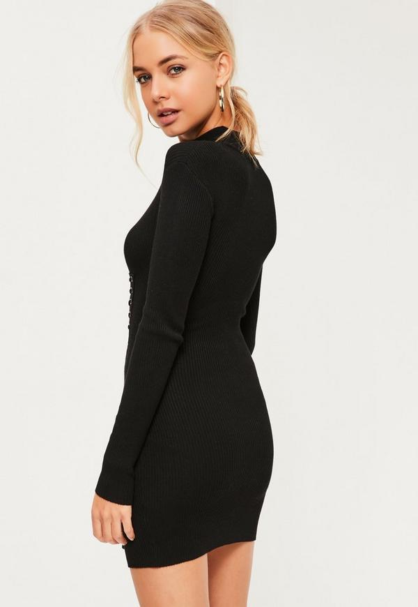 Black Corset Detail Choker Neck Mini Sweater Dress ...