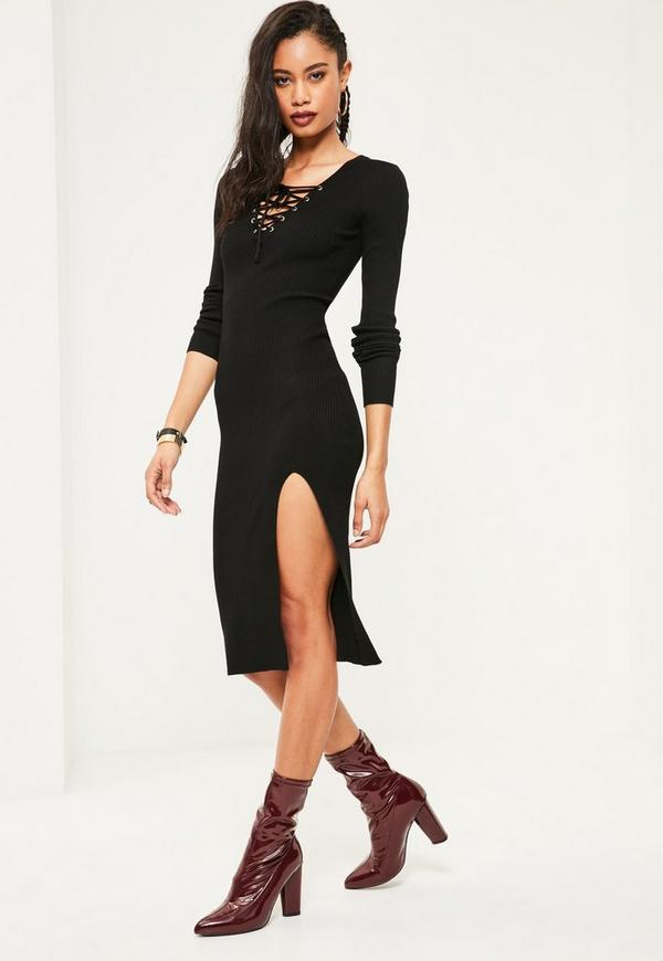 Black Lace Up Midi Jumper Dress