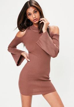 Brown Cold Shoulder Flute Sleeve Mini Dress