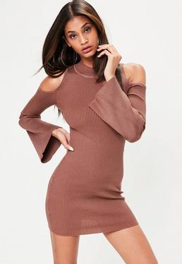 Brown Cold Shoulder Flute Sleeve Mini Dress
