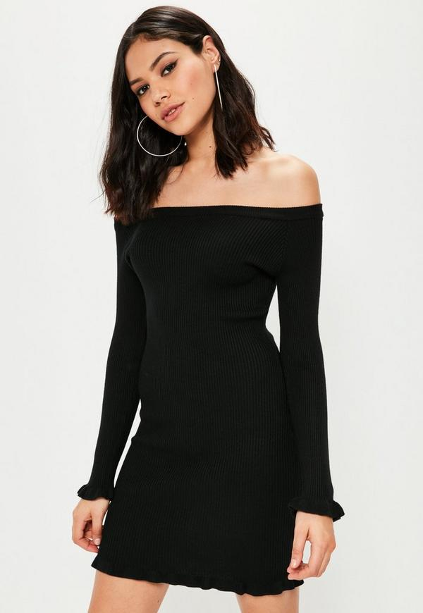 Black Frill Detail Bardot Jumper Dress