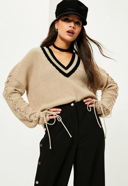 Camel Lace Up Sleeve Plunge Sweater