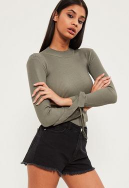 Khaki Tie Sleeve Roll Neck Bodysuit