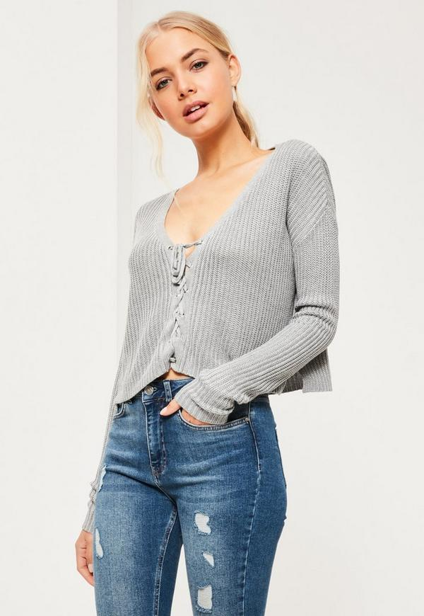 £25.00. grey slouchy knitted cropped lace up jumper. select your ... db027e9b4