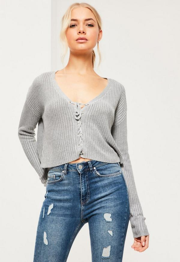 9e48e11432 Grey Slouchy Knitted Cropped Lace Up Jumper. €34.00. Previous Next