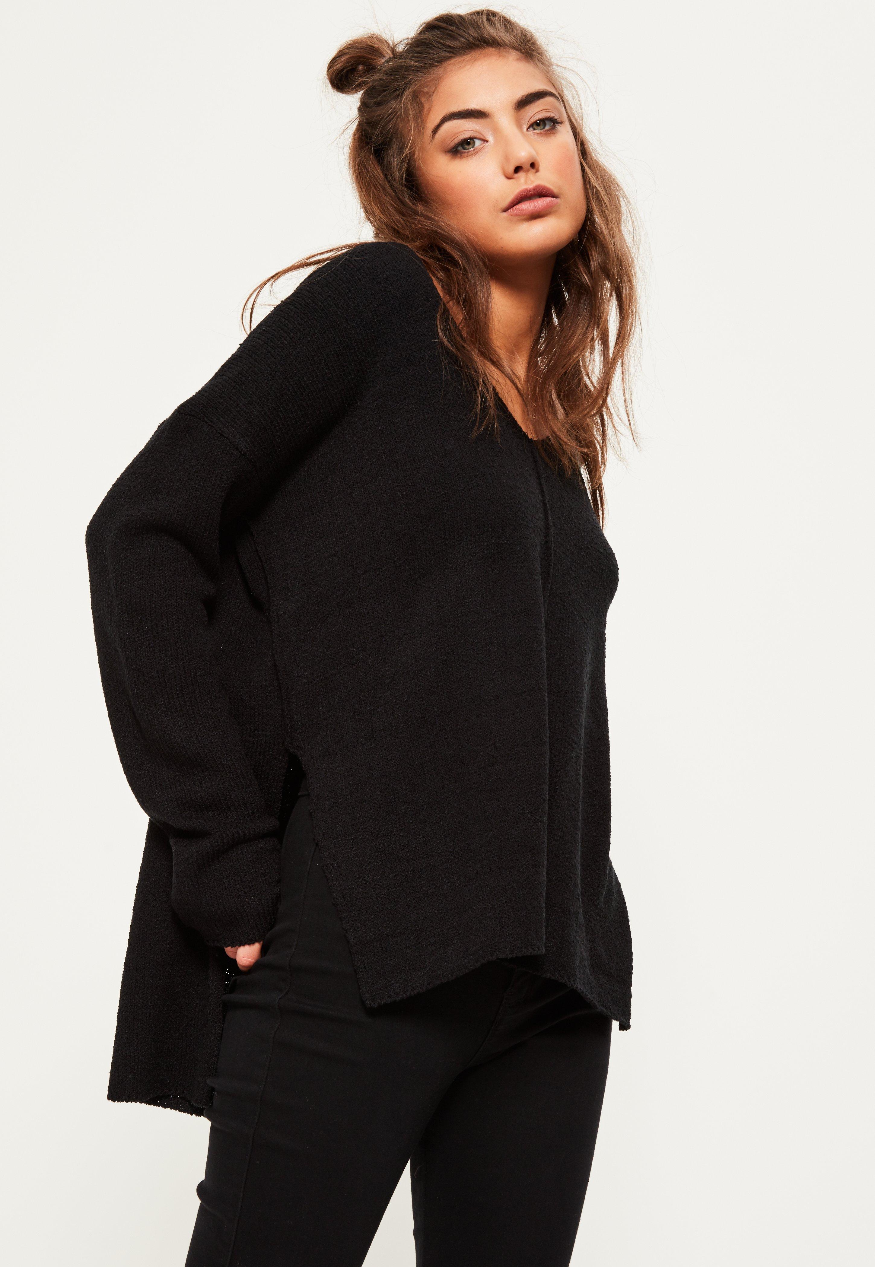 Black Slouchy Side Split Knitted Jumper