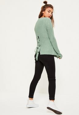 Green Waffle Knit Chunky Lace Up Back Jumper
