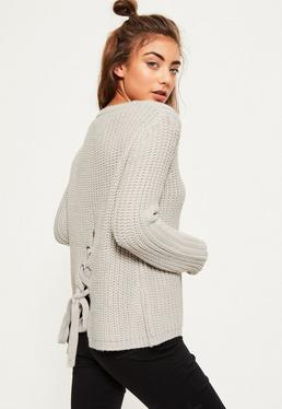 Grey Lace Up Back Knitted Jumper