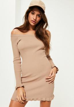Camel Frill Hem Bardot Mini Jumper Dress