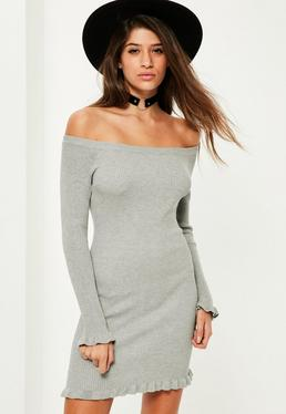 Grey Frill Hem Bardot Mini Jumper Dress