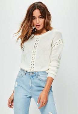 White Ring Detail Sleeve Sweater