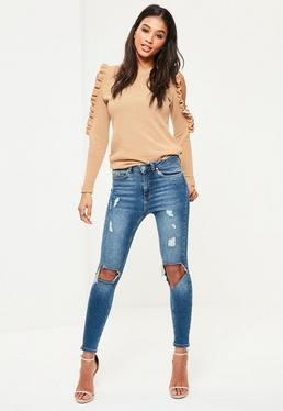Nude Frill Cold Shoulder Jumper