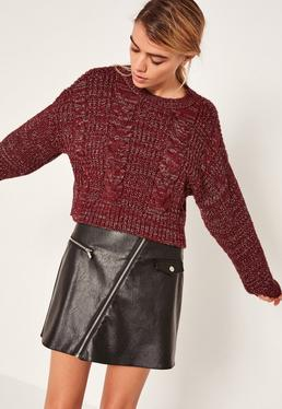 Burgundy Neppy Cable Slouchy Jumper