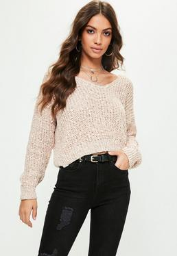 Nude Textured V Neck Sweater