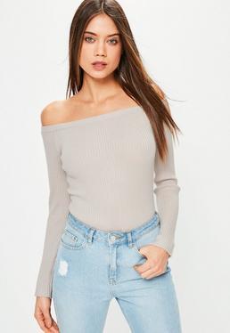 Grey Long Sleeve Ribbed Bardot Knitted Bodysuit