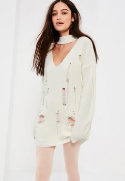 White Choker Neck Distressed Jumper