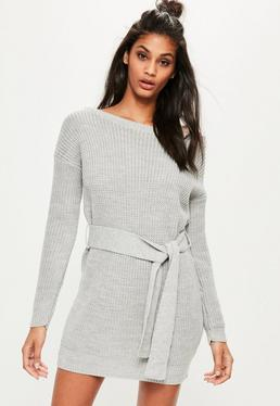 Grey Off Shoulder Belted Sweater Dress