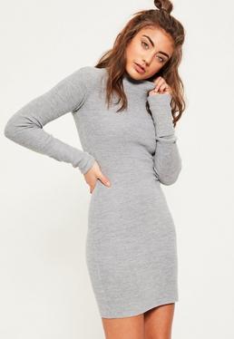Strick-Pullover Minikleid mit umgeschlagenen Bundärmeln in meliertem Grau