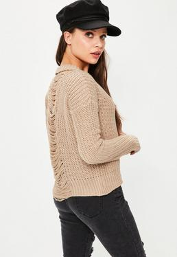 Camel Distressed Back Jumper