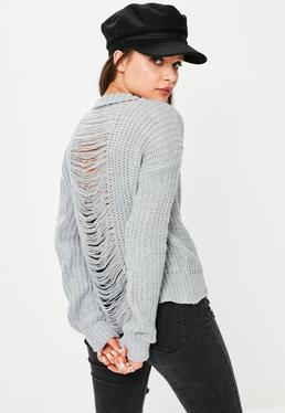 Grey Marl Distressed Back Jumper