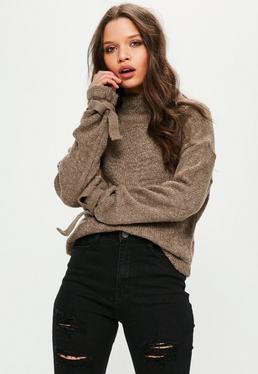 Brown Boucle Tie Sleeve Funnel Neck Jumper