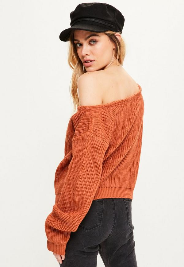 Orange Off Shoulder Cropped Sweater | Missguided
