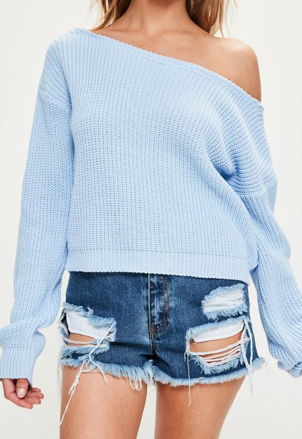 Off The Shoulder Jumper Knitting Pattern : Blue Off Shoulder Knitted Cropped Jumper Missguided