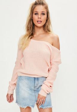 Pink Off Shoulder Knitted Cropped Jumper