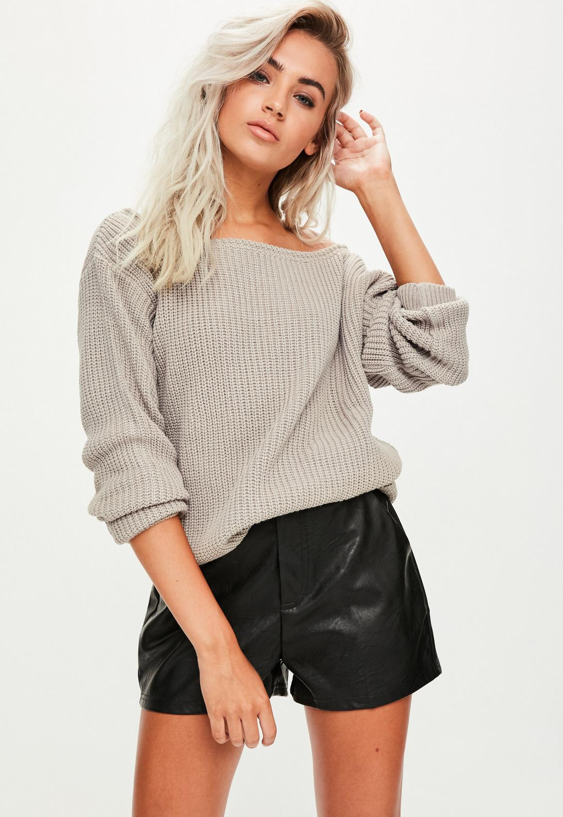 Grey Off Shoulder Sweater | Missguided