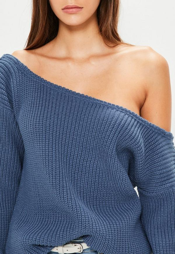 Navy Off The Shoulder Knitted Sweater | Missguided