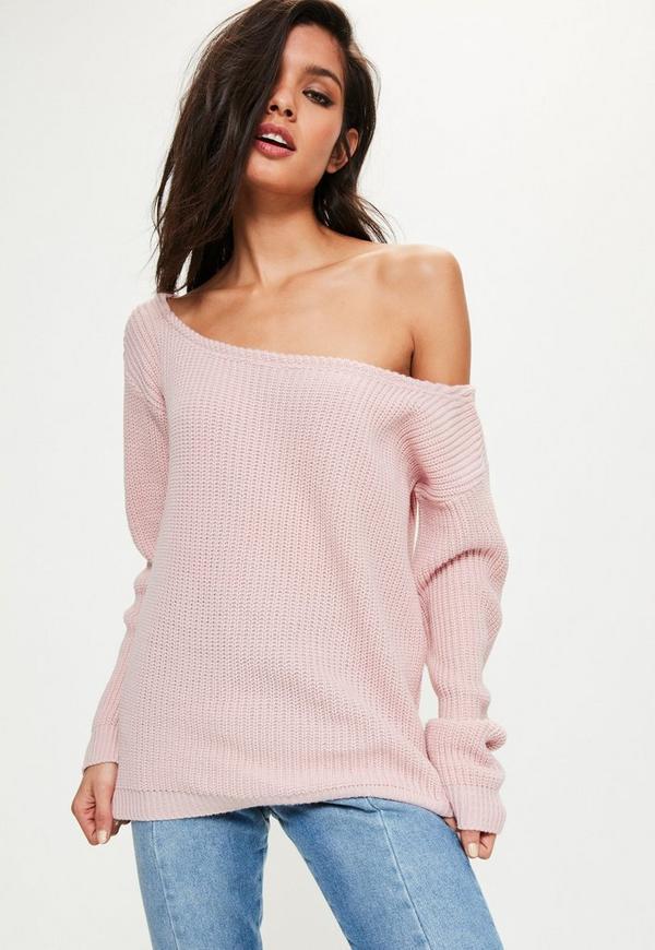 pink off shoulder sweater missguided. Black Bedroom Furniture Sets. Home Design Ideas