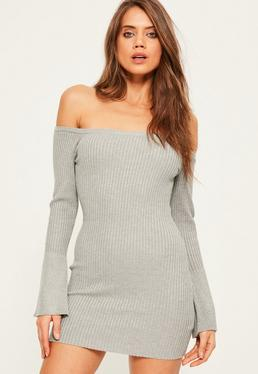 Grey Flare Sleeve Off Shoulder Mini Jumper Dress