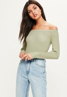 Green Ribbed Bardot Knitted Bodysuit