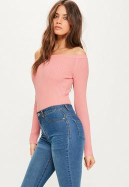 Pink Ribbed Bardot Knitted Bodysuit