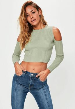 Green Ribbed Cold Shoulder Crop Jumper