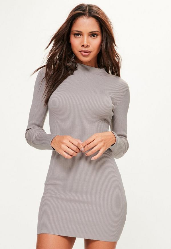 Grey Basic High Neck Knitted Mini Jumper Dress