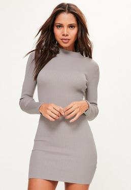 Grey Basic High Neck Knitted Mini Sweater Dress