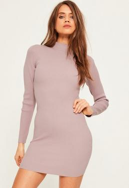 Hochgeschlossenes geripptes Mini Pulloverkleid in Hellviolett
