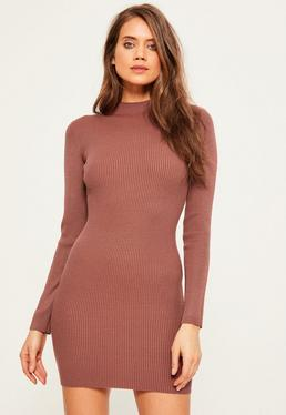 Pink Basic High Neck Mini Sweater Dress