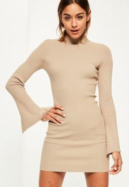 Camel Extreme Sleeve Mini Knitted Jumper Dress