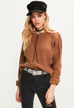 Brown V Neck Back Slouchy Cropped Jumper