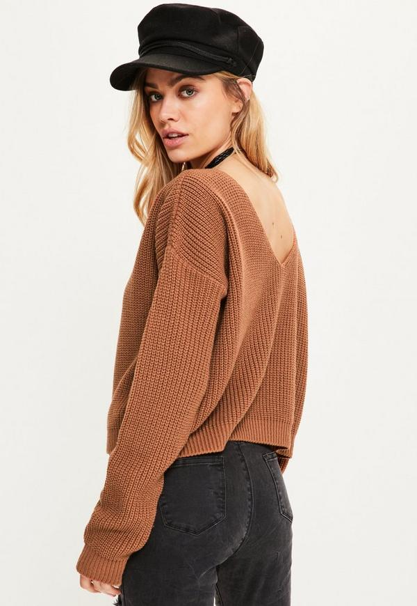 Brown V Neck Back Slouchy Cropped Sweater | Missguided