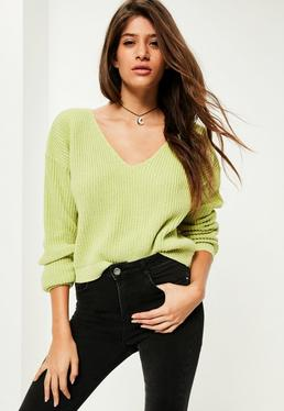 Green V-Neck Slouchy Cropped Sweater